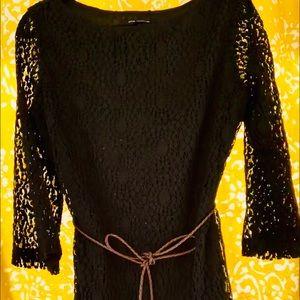 "Sharagano Dresses - ""Sharagano"" BoHo Double Layer Dress w/Braided Belt"